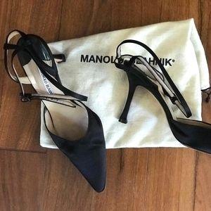 Manolo Blahnik Black Satin Shoes